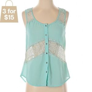 S Turquoise Sleeveless Lace Button Up Blouse